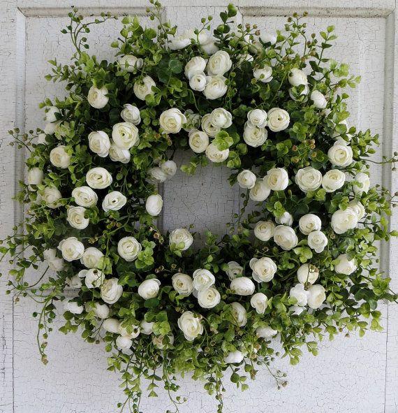 Photo of White Ranunculus Wreath, Front Door Wreath, Summer Wreath, Spring Wreath, Wedding Wreath