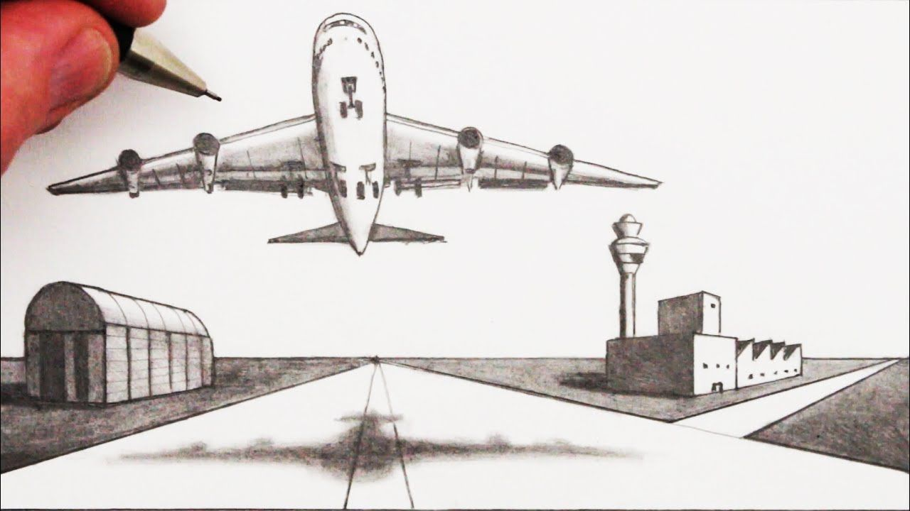 How To Draw An Airplane And Airport In 2 Point Perspective