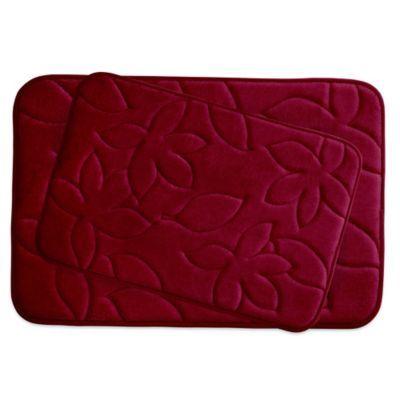 Bounce Comfort Blowing Leaves Memory Foam 2 Piece Bath Mat Set
