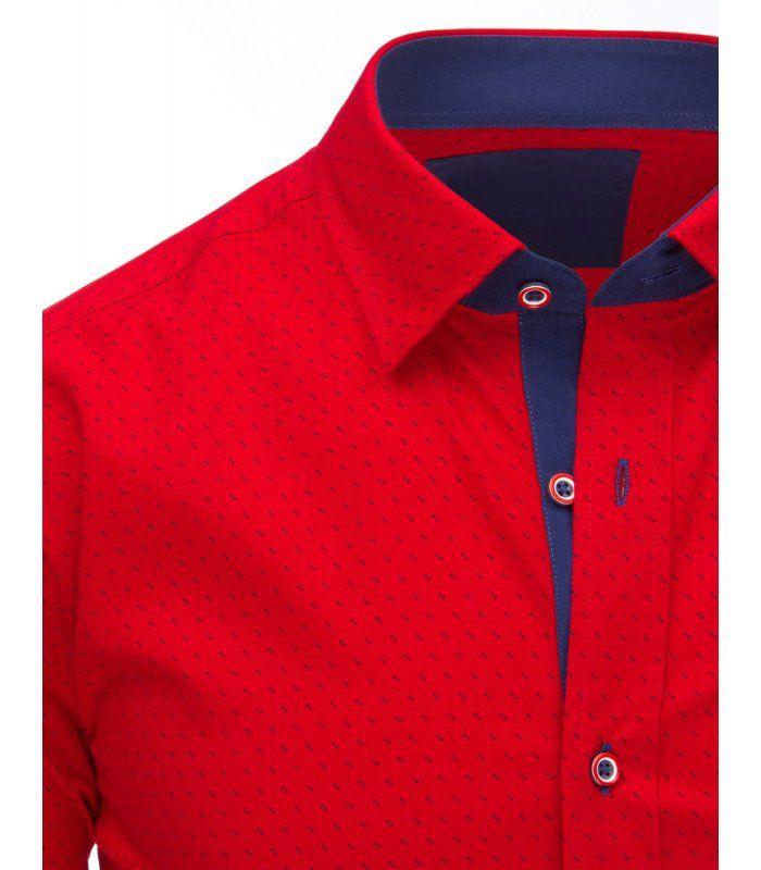 0cd6411209c1 Červená pánska košela so vzorom a dlhým rukávom
