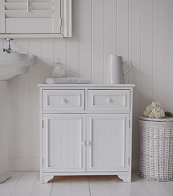 Maine Bathroom Cabinet With 2 Cupboards And Drawers For Storage Bathroom Furniture Storage White Bathroom Furniture Storage Cabinets