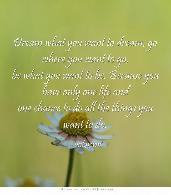 Dream what you want to dream, go where you want to go, be what you want to be. Because you have only one life and one chance to do all the things you want to do.