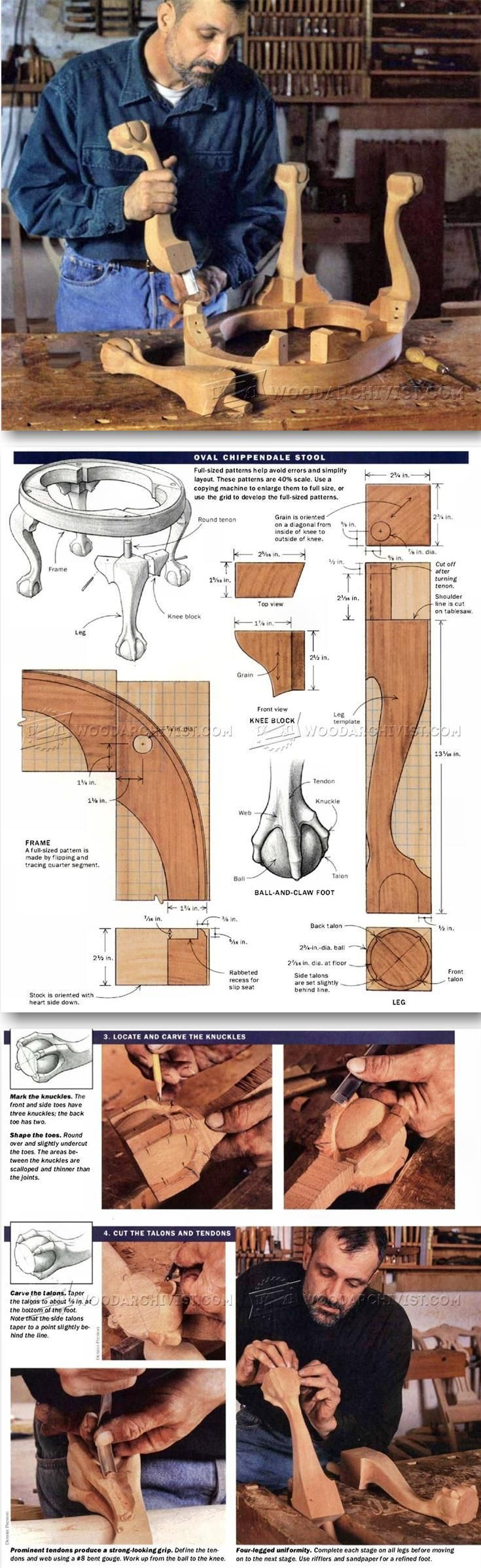 Oval Chippendale Stool Plans - Furniture Plans and Projects | http://WoodArchivist.com