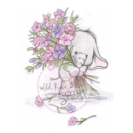 tampon dessin éléphant et beaucoup de fleur. wild rose studio