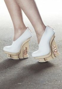 Designers 3D Print Colorfabb woodFill Platforms for New Shoe Collection, EXCIDIUM http://3dprint.com/7477/3d-print-wood-shoes/