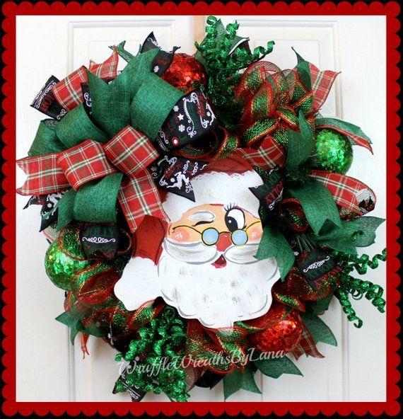 Clearance! Santa Claus Christmas Wreath, Santa Claus Deco Mesh