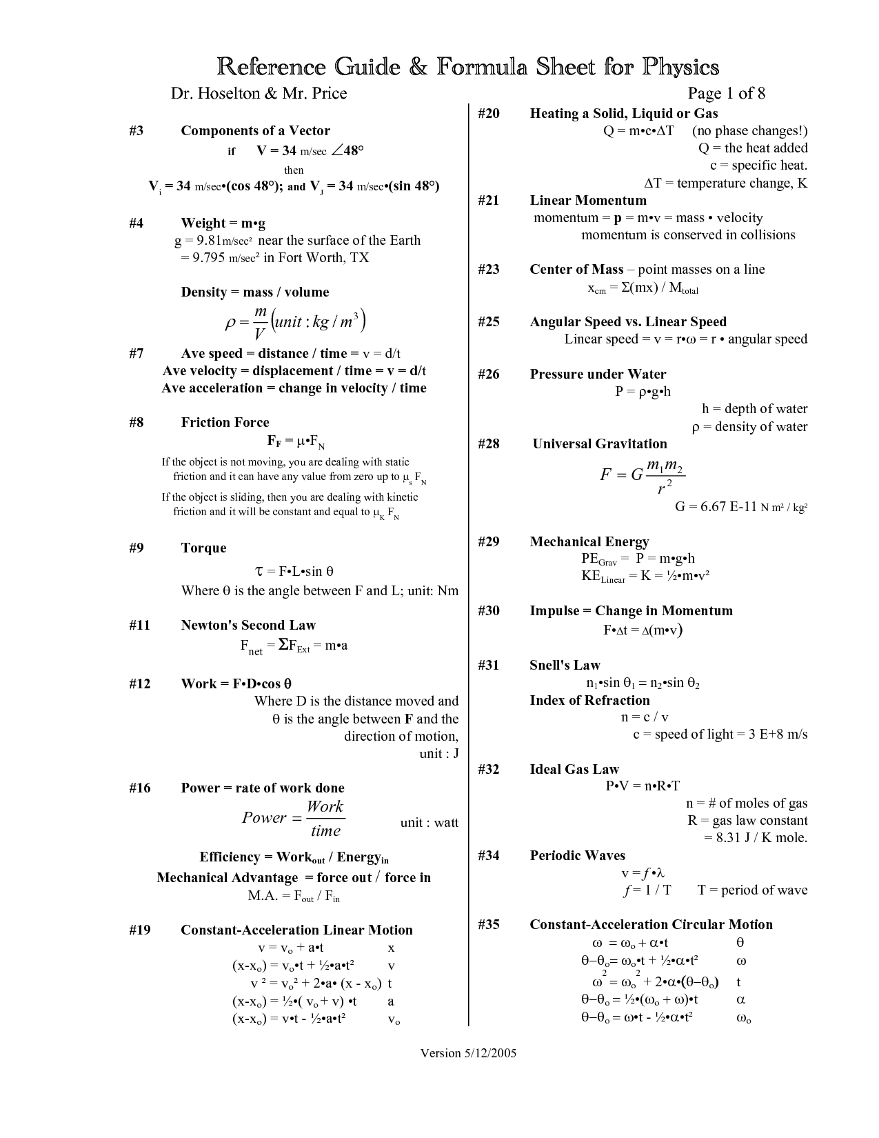 College Physics Formula Sheet