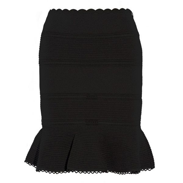Alexander McQueen Lace-paneled cotton-blend mini skirt (€560) ❤ liked