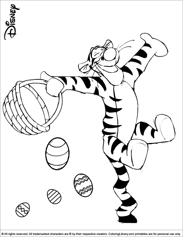 Cute Tigger Easter Coloring Page Happy Easter Pictures Coloring Pages Disney Coloring Pages