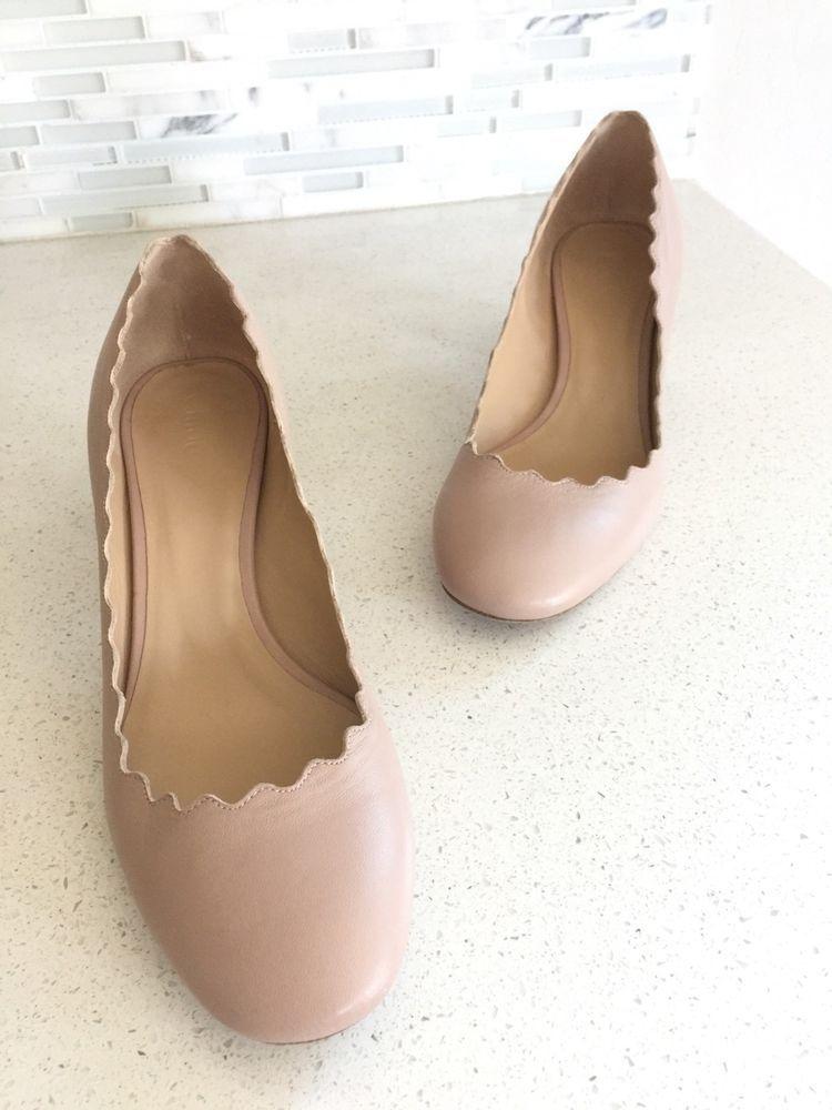 2269132b0548 CHLOE LAUREN Scalloped Pink Blush Leather Block Heel Pump Size EU 37 US 7   shoes  designer