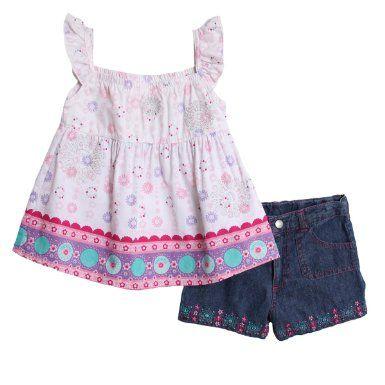 Amazon.com: BT Kids Kid Girls 2 Piece Pink Purple Peasant Top Denim Jean Summer Shorts Set: Clothing