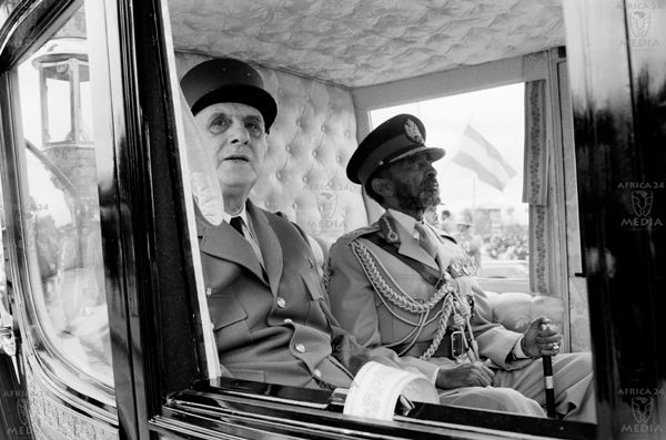 AFRICA, ETHIOPIA - President General Charles de Gaulle of France with  Emperor Haile Selassie of Ethiopia are photog…   We the kings, African  royalty, Haile selassie