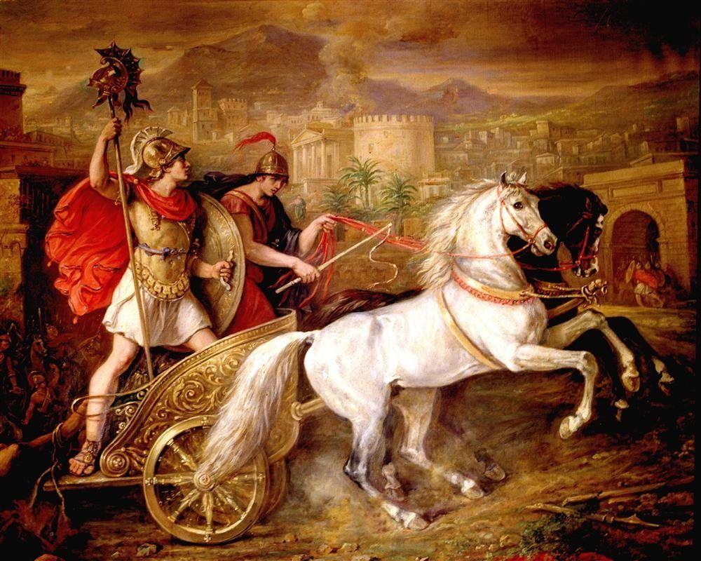 "Janto y Balio "" caballos de Aquiles. | Mythology paintings, Greek heroes,  Neoclassical art"