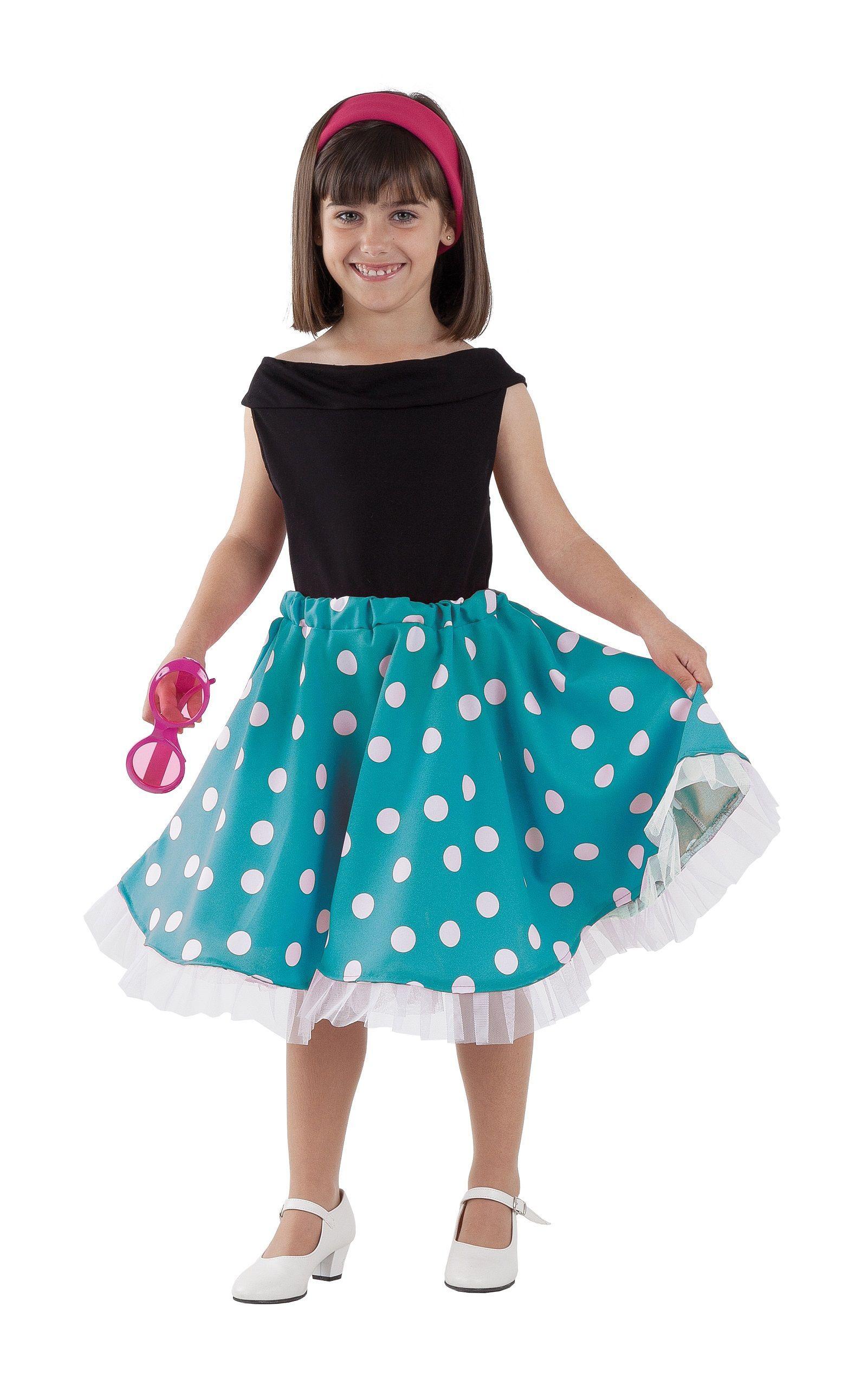 Vestido de lunares azul inspirado años 50 para niña