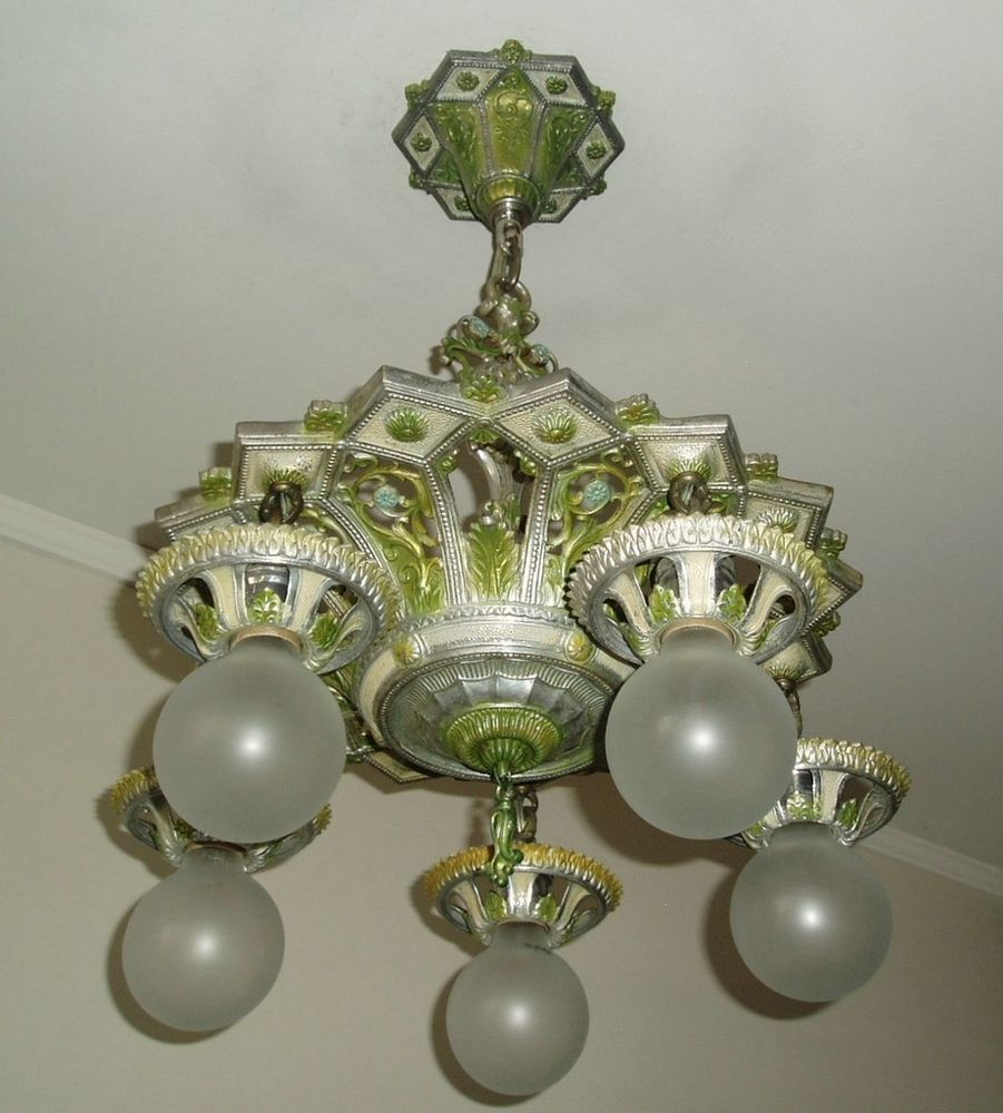 Antique 1920s 30s vintage art deco isco ceiling light fixture antique 1920s 30s vintage art deco isco ceiling light fixture chandelier arubaitofo Image collections