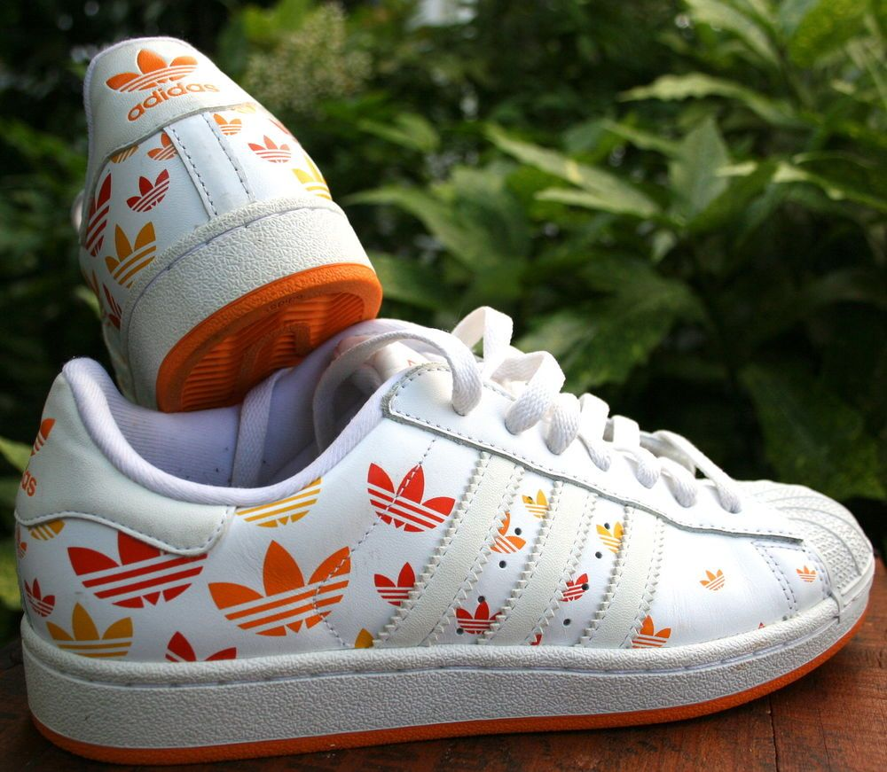 new style d6eed 67bde Womens Retro Style ADIDAS Shell Toe White Orange Yellow Leather Tennis  Shoes 8M  adidas  Tennis