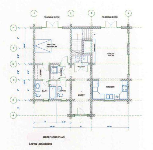 Luxury Log Homes Plan - The Alpiine 1600 sq ft log home