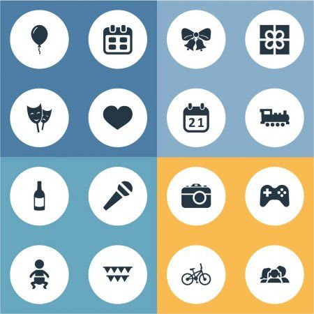 Vector Illustration Set Of Simple Holiday Icons Elements Camera