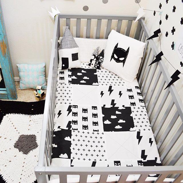 Sleepinglakedesigns batmask batman nursery crib bedding for Black and white baby room decor