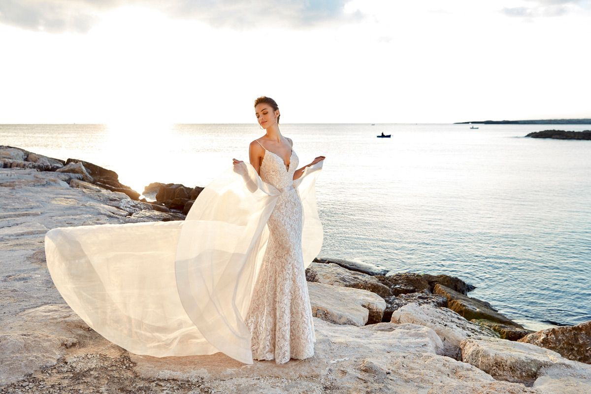 928d11a702dd Dreams Wedding dress styles for body types. V-neck, long sleeves, vintage,  ball gown. Eddy K Dreams Style Eva.