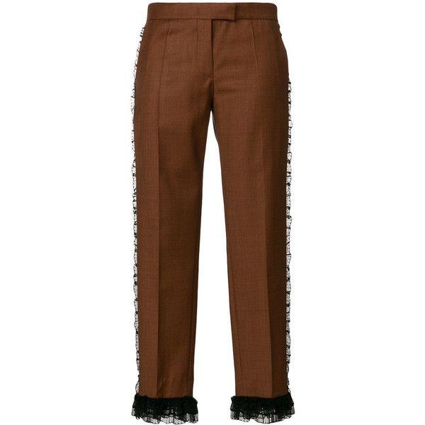 marrones pantalones a ❤ pantalones Polyvore los con Marco lo con 385 Vincenzo Me largo fruncido pantalones gustó De de capris cultivos Ron cortos 2 marrón adornos recortados en RxwBanqv