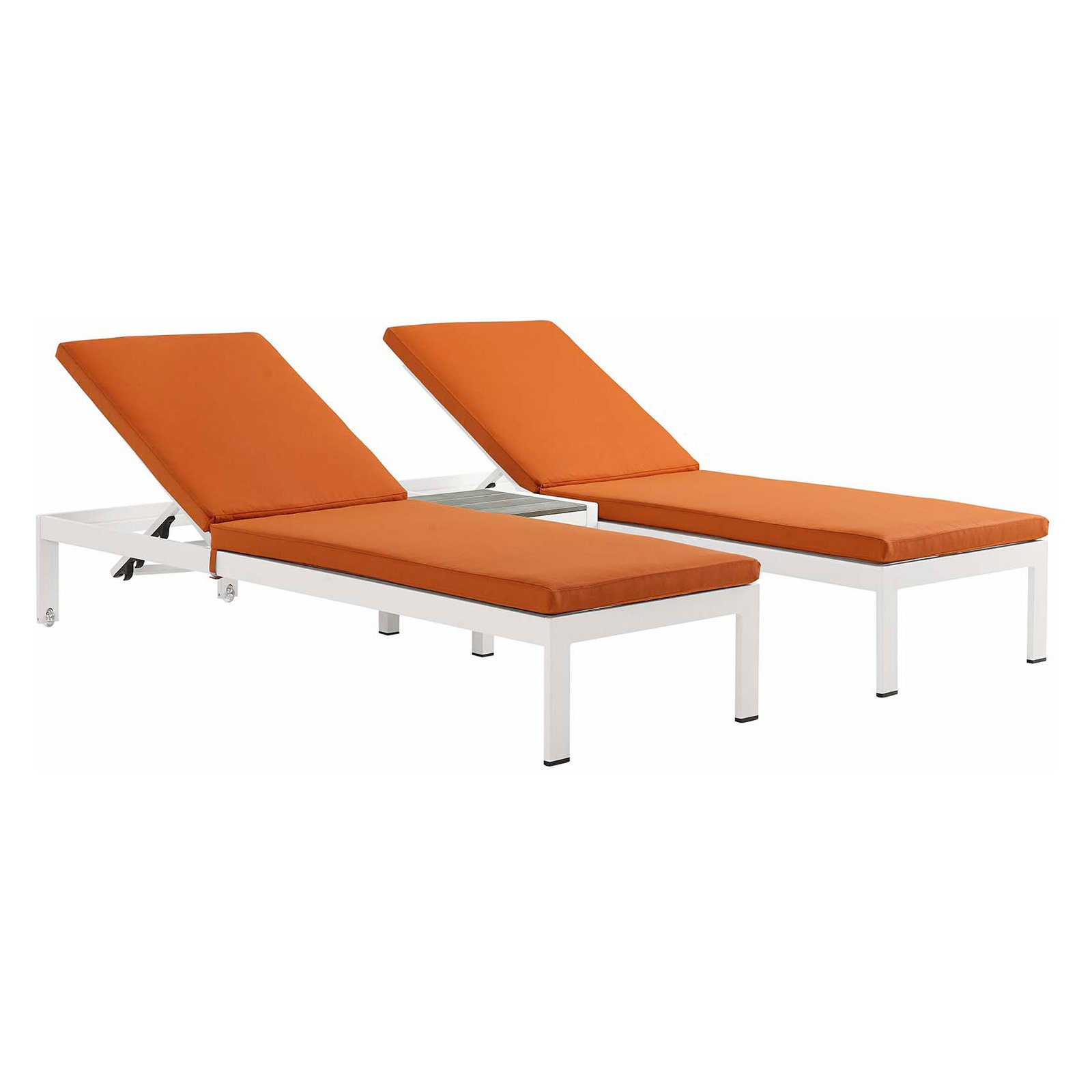 Modway Shore 3 Piece Aluminum Outdoor Patio Chaise Lounge Chair Set Orange Products In 2019 Patio Chaise Lounge Patio Chairs