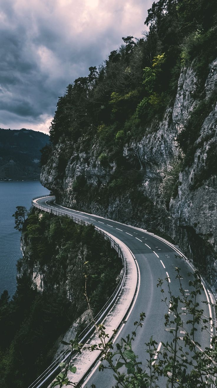 ride the road through the mountains along the wate... - #Mountains #ride #road #wallpers #wate #downloadcutewallpapers