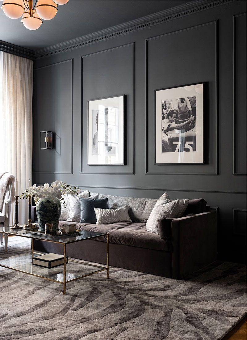 Elegantnyj Dizajn Nebolshoj Kvartiry V Temnyh Ottenkah 56 Kv M Foto Idei Dizajn Home Interior Design Dark Living Rooms Living Room Designs