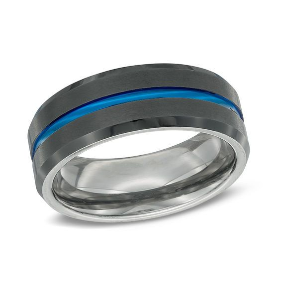 Zales Previously Owned - Mens 8.0mm Comfort-Fit Etched Center Black IP Wedding Band in Tantalum