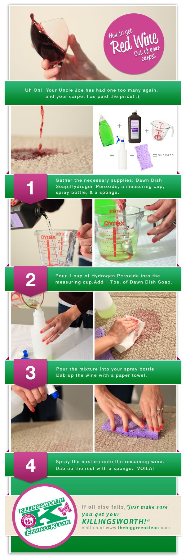How to get Red Wine out of your carpet.   How to clean carpet