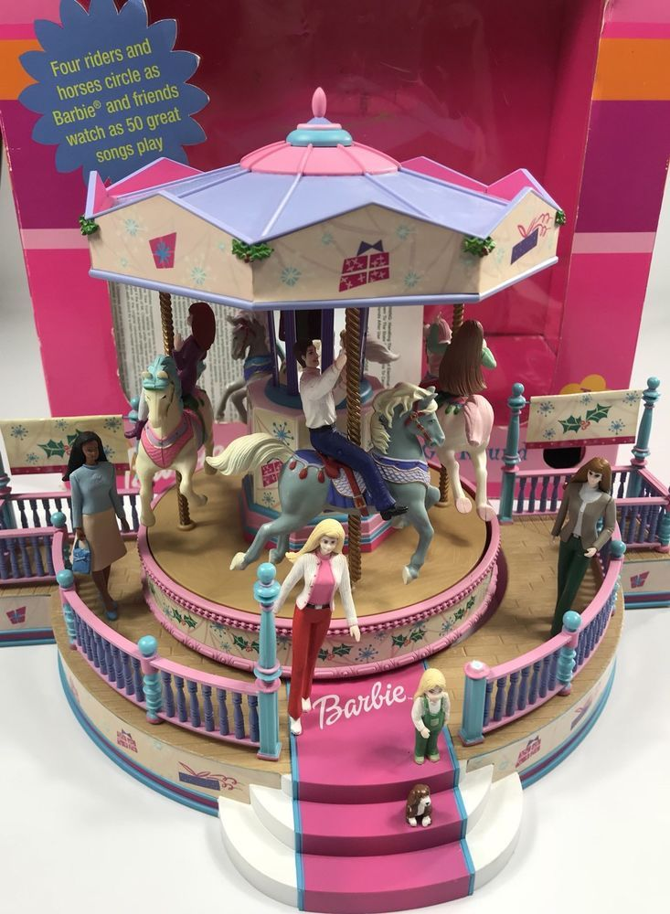 Barbie Holiday Go Round Carousel Figurine Decoration Musical Mr - christmas carousel decoration