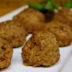 Cheesy Chicken Meatballs Recipe - Allrecipes.com. Gonna say I made this, but I changed a lot. Used ground turkey instead of chicken. Mozzarella instead of cream cheese. Went very heavy on the bread crumbs. Added a little cayenne pepper. Turned out good this way!