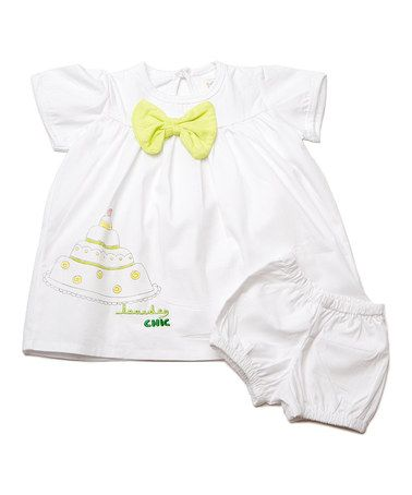 Look what I found on #zulily! White Cake Bow Top & Bloomers - Infant by Lourdes #zulilyfinds