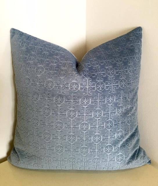 Gray Blue Velvet Throw Pillow Pillows
