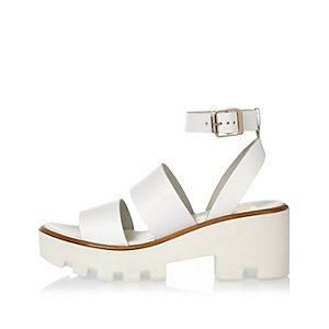 35e79a97828 White leather thick strappy platform sandals Mid Heel Sandals
