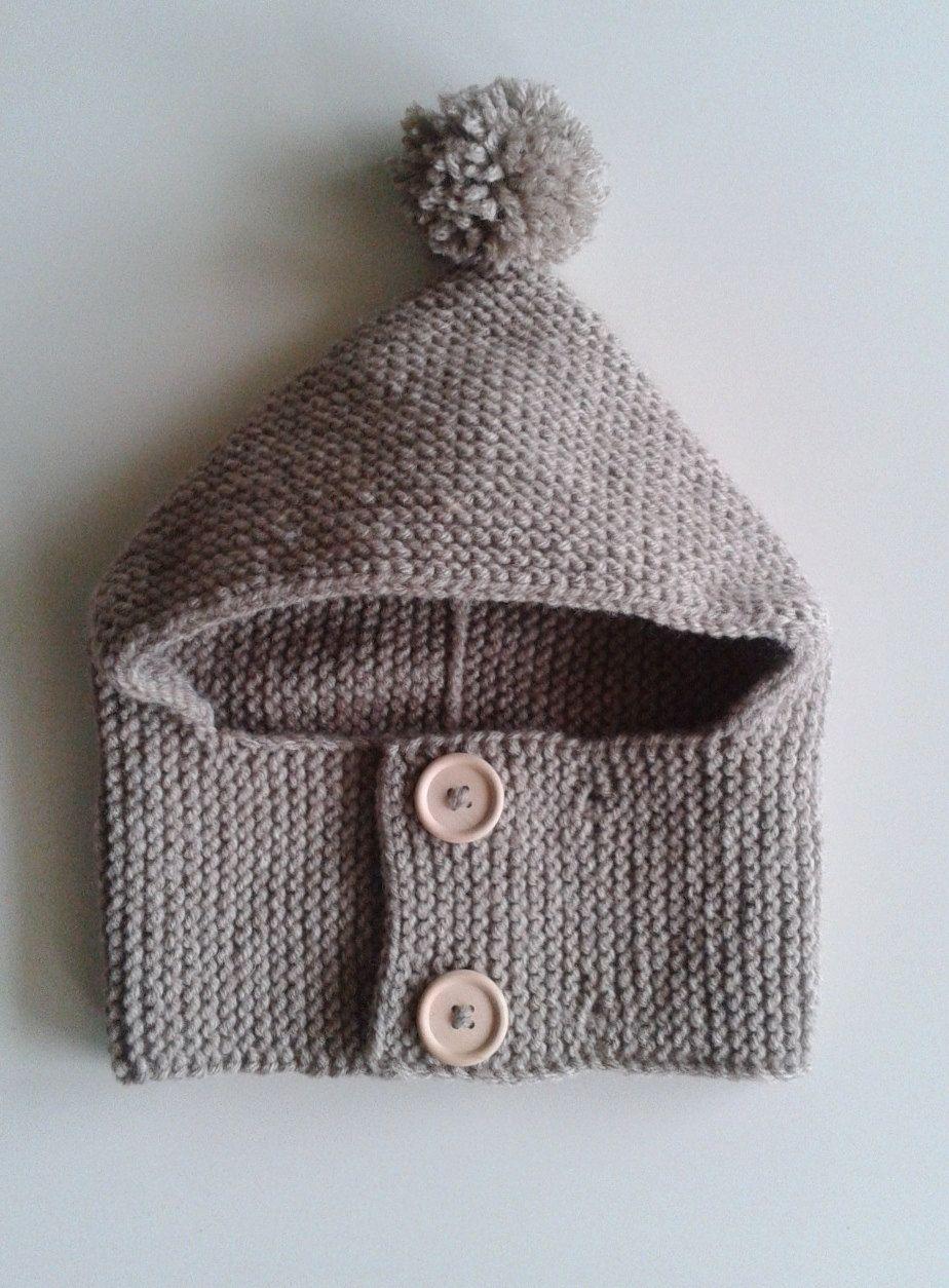 Bonnet-cagoule pour bébés de 1 à 24 mois tricoté main en laine avec pompon  et… 300de3d5639
