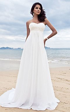 Sheath/Column Sweetheart Court Train Chiffon Wedding Dress  – USD $ 195.99
