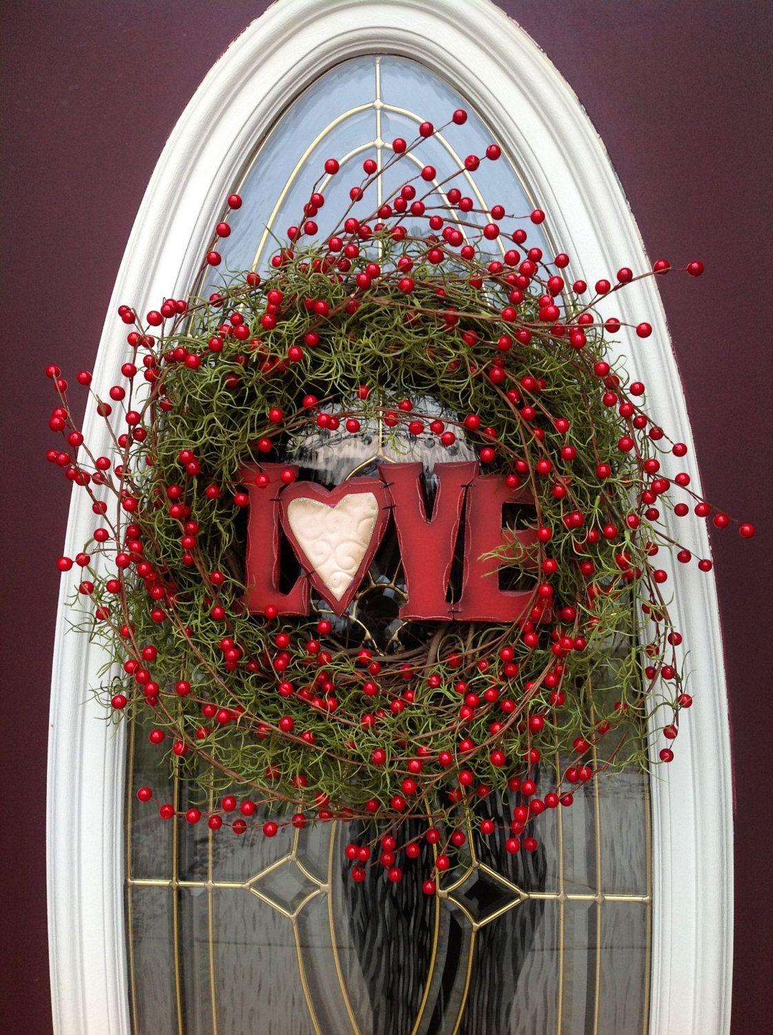 Valentineu0027s Day Grapevine Door Wreath Decor.