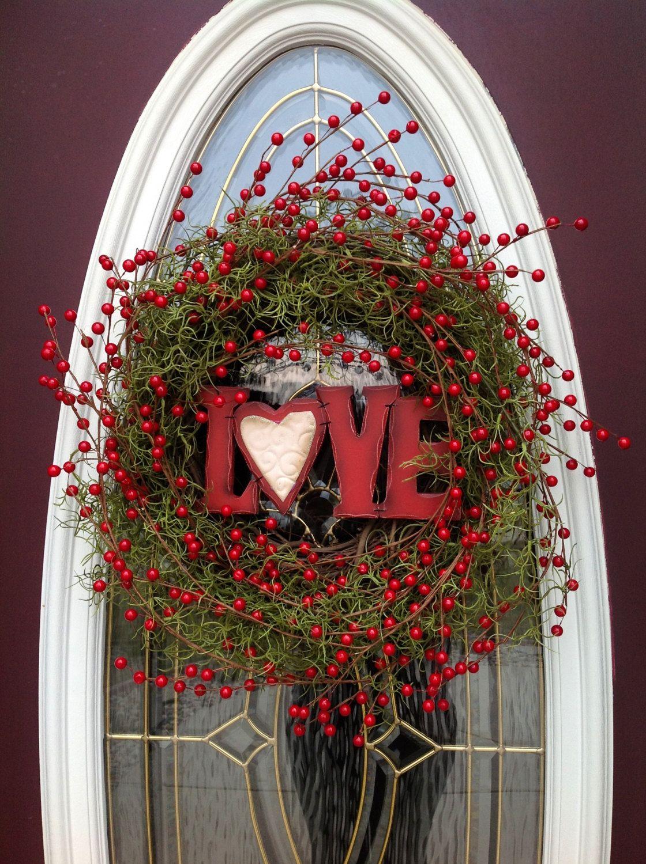 Valentines day grapevine door wreath decorlove you one of a valentines day grapevine door wreath decorlove you one of a kind red berries red ribbon removable sign indooroutdoor rubansaba