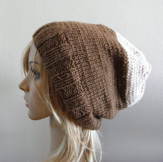 Hand knit slouchy hat two tone cappuccino chocolate by baboom (Accessories, Hat, Knit, knit slouchy hat, unisex knit slouch, winter warm slouch, adult knitted beanie, two tone bicolor hat, cappuccino brown hat, light beige fawn hat, chocolate cream hat, women brown slouch, men brown slouch, medium brown tan hat, beige neutral beanie, nude coffee knit hat)