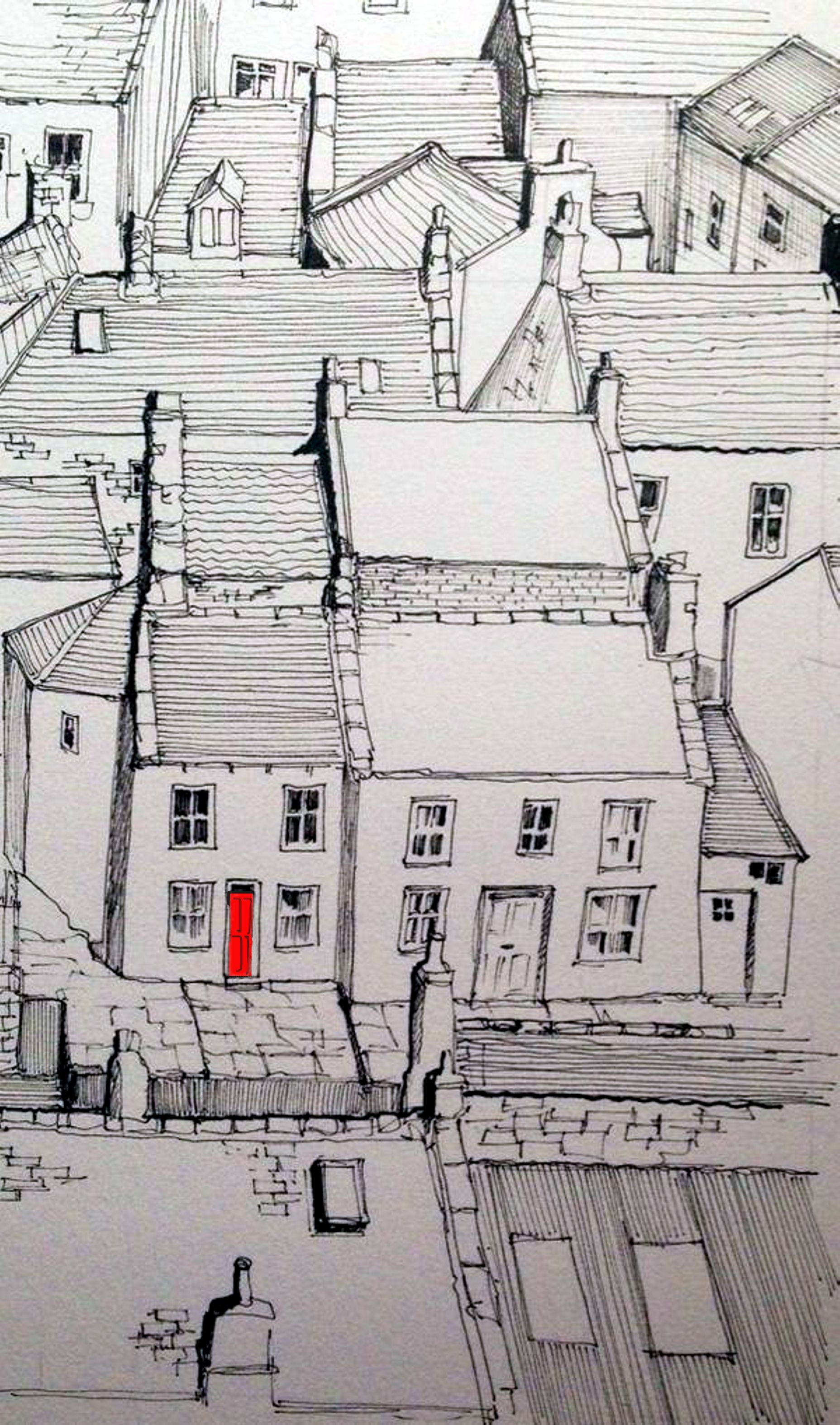 A line sketch of staithes with one red door urban sketching
