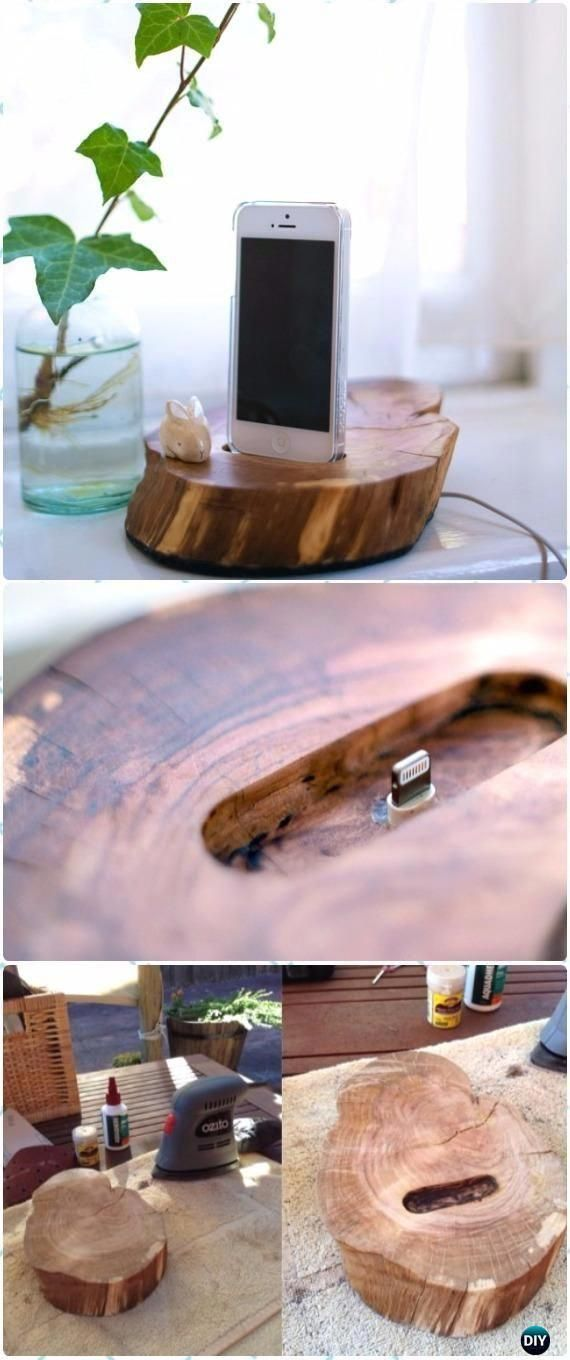 DIY Wood Log Iphone Docker Instructions - Raw Wood Logs and Stumps DIY Ideas Projects #LogWoodProjectsDiy #WoodProjectsBedroom