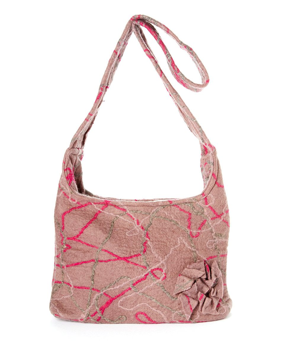 Another great find on #zulily! Gray & Pink Rosette Wool Shoulder Bag by Sassy Hip #zulilyfinds