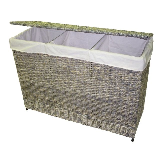 America Basket Company Woven Maize 3 Section Lined Hamper