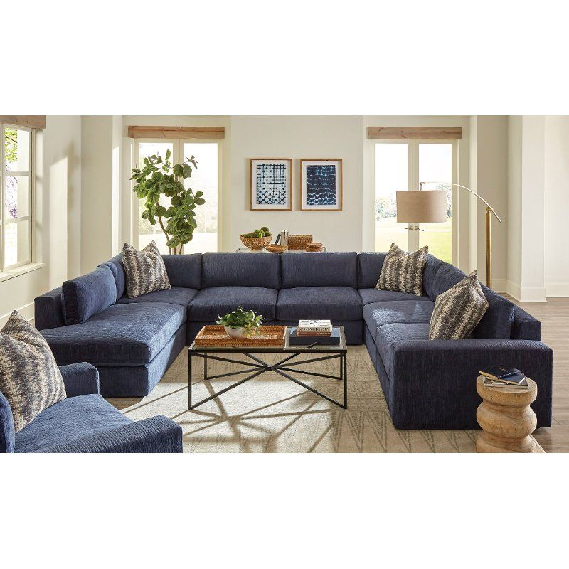 Best Contemporary Blue 7 Piece Sectional Sofa With Raf Chair 400 x 300