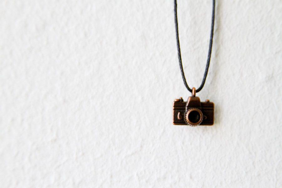Bronze Camera Necklace / Valentine's Day Gift by d3bz on Etsy
