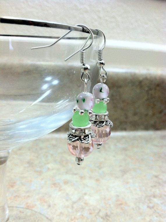 Brilliant color and sparkle pink and green dangle by ReadyByDawn, $10.00