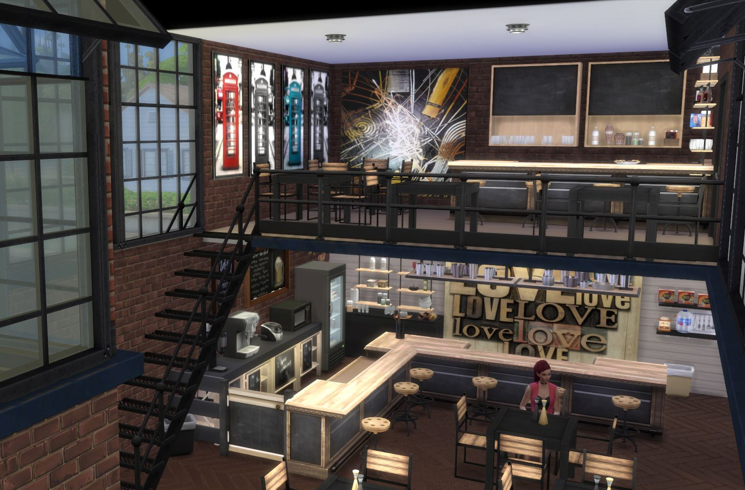 Sims 4 Modern Bar Sims 4 Loft Sims 4 Restaurant Sims