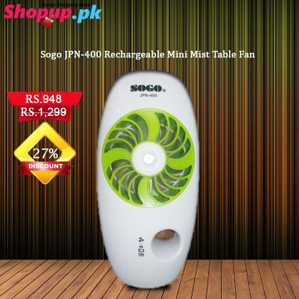 Sogo JPN-400 mini mist Fan is a rechargeable fan  It
