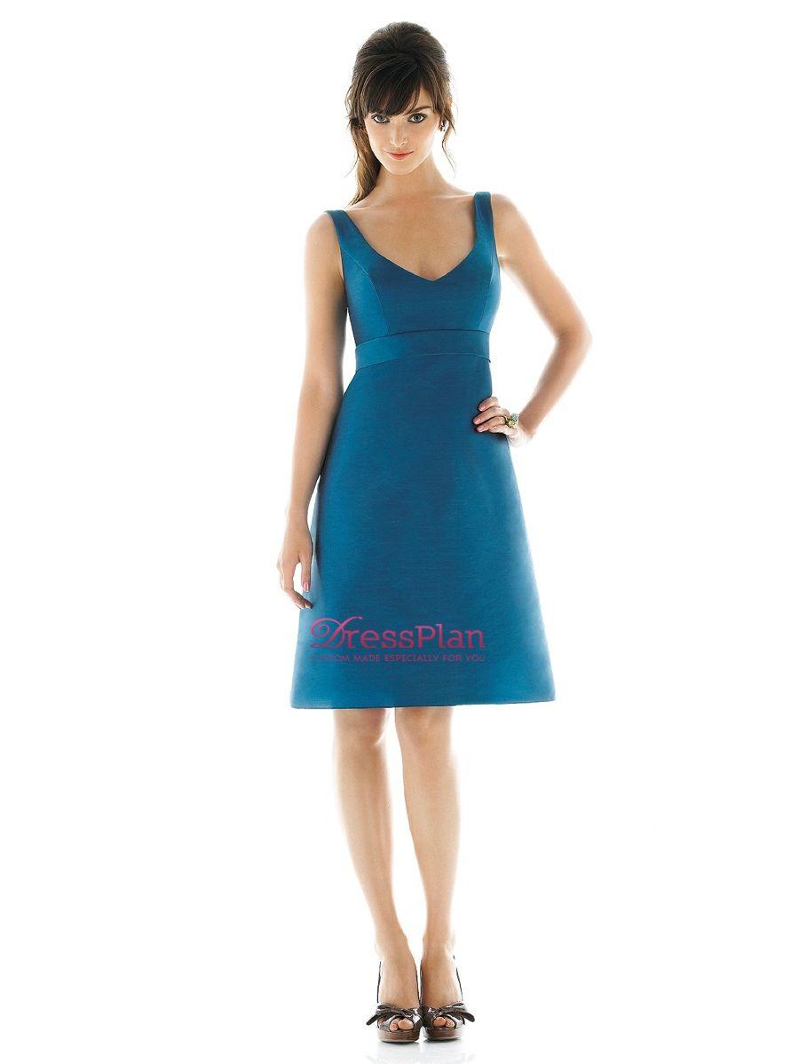 A-Linie Silhouette Organza Kleid Brautjungfer mit Rundhalsausschnitt ...